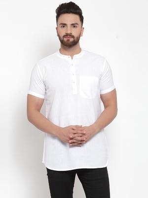 white plain Cotton stitched short kurta