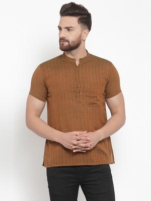 Brown Plain Cotton Stitched Short Kurta