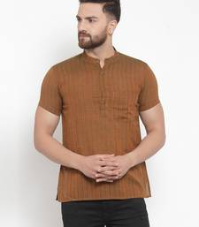 brown plain Cotton stitched short kurta