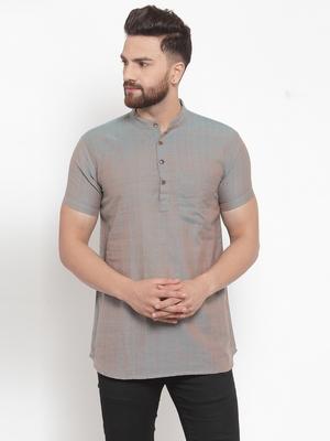 grey plain Cotton stitched short kurta