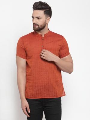 orange plain Cotton stitched short kurta