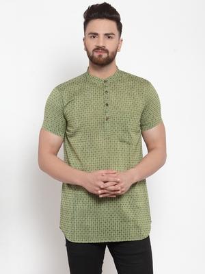 green plain Cotton stitched short kurta
