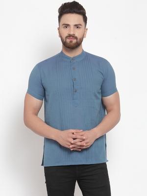 blue plain Cotton stitched short kurta