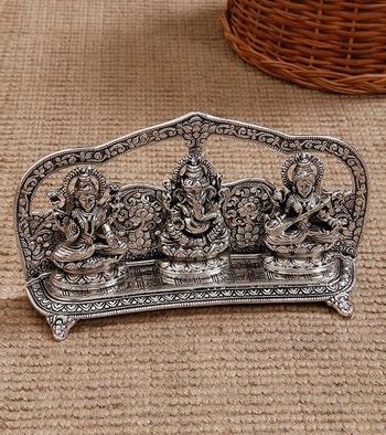 Laxmi Ganesha Saraswati Shining religious decorative showpiece