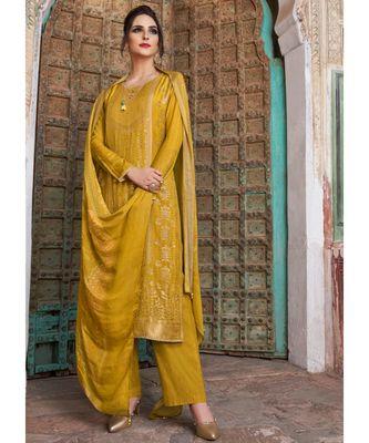 mustard embroidered chanderi unstitched salwar with dupatta