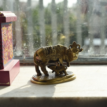 Brass Holy Kamdhenu Cow and Calf Figurine