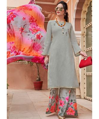 grey embroidered cotton unstitched salwar with dupatta