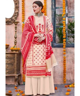 cream printed linen unstitched salwar with dupatta