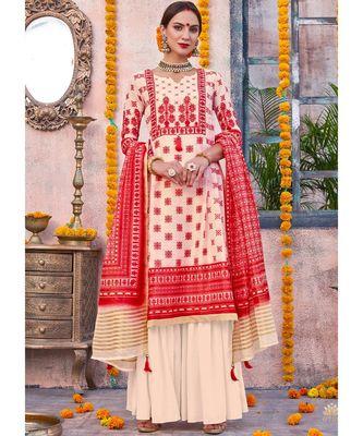 cream printed linen unstitched salwar with dupatta