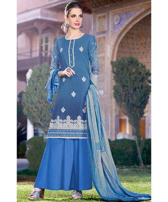blue embroidered cotton unstitched salwar with dupatta