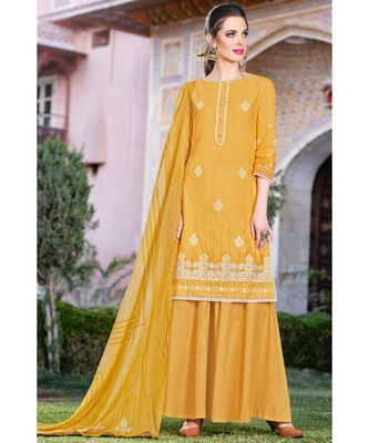 yellow embroidered cotton unstitched salwar with dupatta