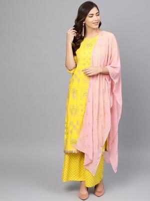 Yellow printed viscose rayon salwar