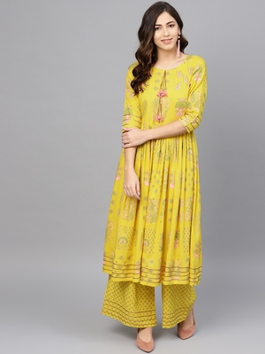 Yellow printed viscose rayon salwar