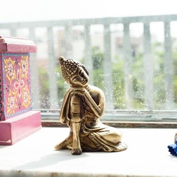 Brass Buddha Resting Antique Artifact