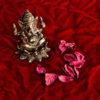 Antique Finish Brass Lord Ganesha on Lotus