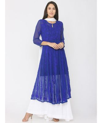 Chikankari Aari Work Blue Anarkali Kurti paired with Skirt and White Duppatta
