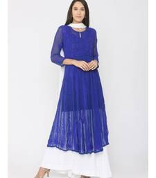 Chikankari Aari Work Blue Anarkali Kurti paired with Skirt and White Duppatta