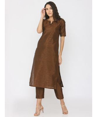 Choclate Brown Silk Round Neck Kurti paired with palazzo