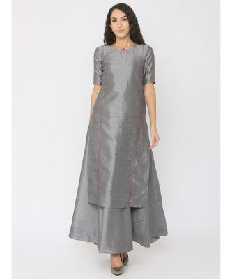 Grey Silk Kurti having Pink Highlights paired with Grey Skirt