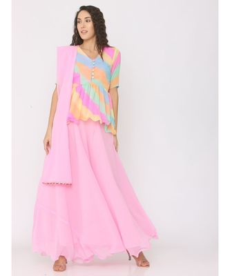 Peplum Rainbow Lehariya Blouse paired with Pink Skirt and Pink Duppatta