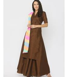 Choclate Brown Silk Kurti paired with Skirt and Rainbow Lehariya Duppatta
