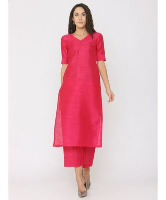 Fuschsia Pink Silk V Neck Plain Kurti with palazzo