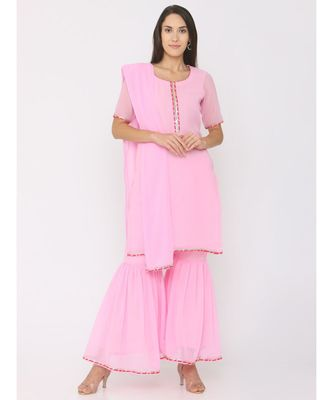 Short Pink Kurti paired with Pink Sharara and Pink Duppatta