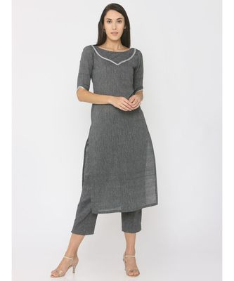 Grey Linen Kurti paired with Silver Gotta on Neck and Trouser