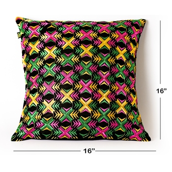 Multi colored |Dupion Silk Phulkari Embroidery Covers | Set of 2