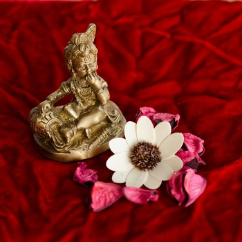 Antique Finish Brass Laddu Gopal eating Makhan