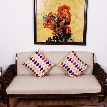 Beige Diamond Multi colored |Dupion Silk Embroidery Covers | Set of 2