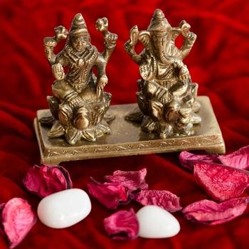 Antique Finish Brass Laxmi Ganesha on Lotus Base