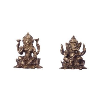 Antique Finish Brass Laxmi Ganesha on Lotus