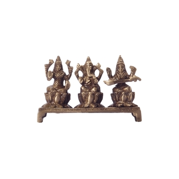 Antique Finish Brass Laxmi Ganesha Saraswati on Lotus Base