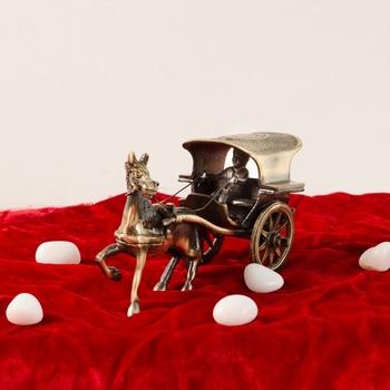 Antique Finish Brass European Horse Cart