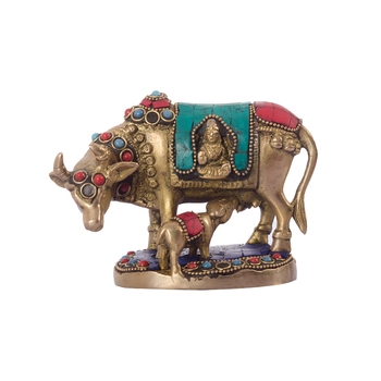 Stone Studded Brass Cow and Calf