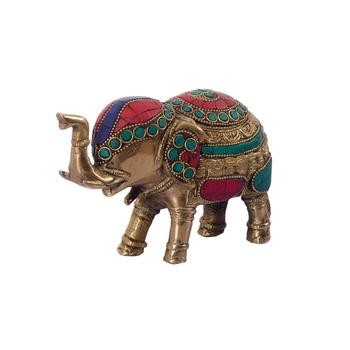 Stone Studded Brass Elephant