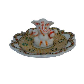 Chaturbhuj Lord Ganesha resting on Marble Stone studded Lotus Plate