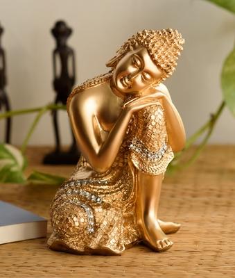 Golden Buddha on Knee Polyresin Showpiece