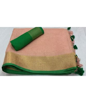 Peach Woven Linen Saree With Blouse