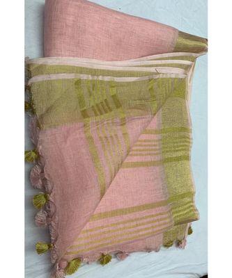 Peach Woven Linen Saree