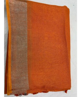 Orange Woven Linen Saree