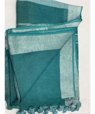 sea green woven linen saree