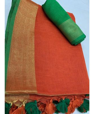 Red Woven Linen Saree With Blouse