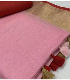 Unitex Fashion Pink Woven Linen Saree With Blouse
