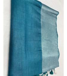 turquoise woven linen saree
