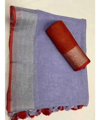 Violet Woven Linen Saree With Blouse