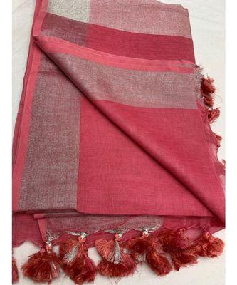 Unitex Fashion Pink Woven Linen Saree