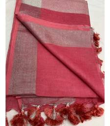 Unitex Fashion Pink Woven Linen Saree