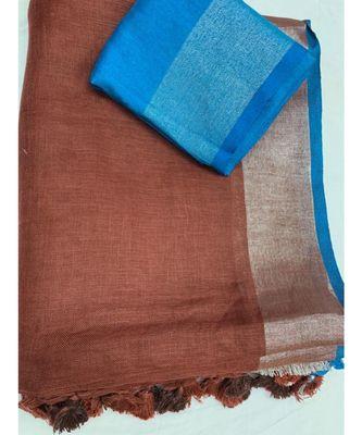 Unitex Fashion Brown Woven Linen Saree With Blouse